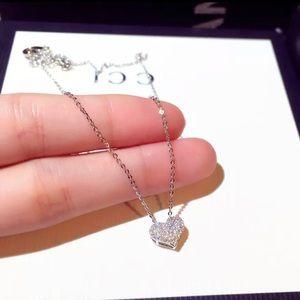New 18k White Gold Diamond Heart Necklace